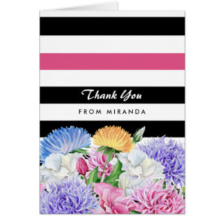 Trendy Pink and Black Stripes Floral Thank You Note Card