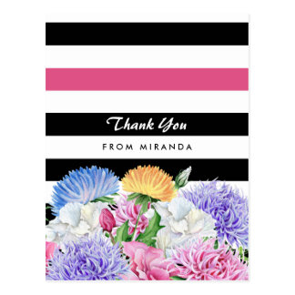 Trendy Pink and Black Stripes Floral Thank You Postcard