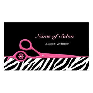 Trendy Pink and Black Zebra Hair Salon Scissors Business Card