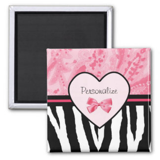Trendy Pink and Black Zebra Pattern Bow and Name Magnet