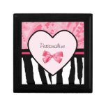 Trendy Pink And Black Zebra Pattern With Name Gift Boxes