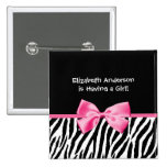 Trendy Pink And Black Zebra Print Girl Baby Shower 2 Inch Square Button
