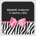 Trendy Pink And Black Zebra Print Girl Baby Shower Square Sticker