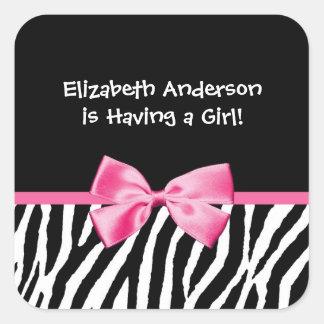 Trendy Pink And Black Zebra Print Girl Baby Shower Sticker