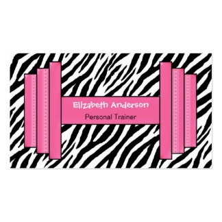 Trendy Pink And Black Zebra Print Personal Trainer Pack Of Standard Business Cards