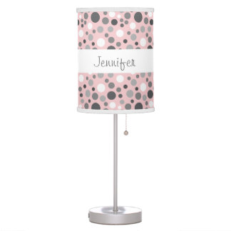 Trendy Pink and Gray Polka Dots Custom Name A02 Table Lamp