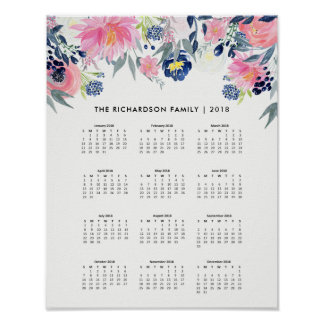 Trendy Pink and Navy Blue Floral | 2018 Calendar Poster