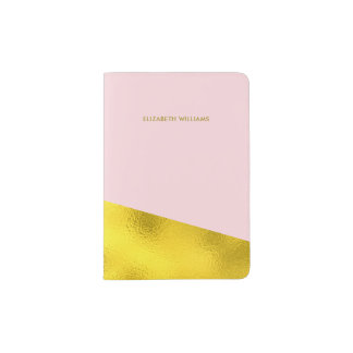 Trendy Pink and Printed Gold Texture Passport Holder