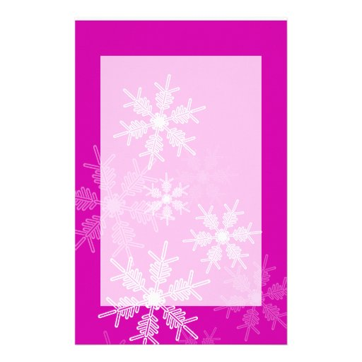 Trendy pink and white Christmas snowflakes Customized Stationery