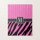 Trendy Pink & Black Zebra Stripes Jigsaw Puzzle