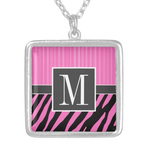Trendy Pink & Black Zebra Stripes Custom Necklace