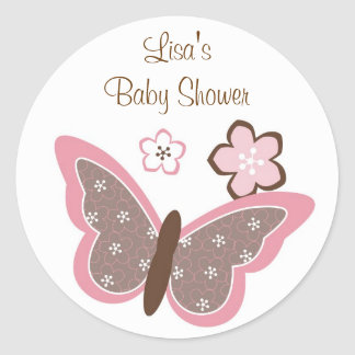 Trendy Pink Butterfly Envelope Seals Stickers