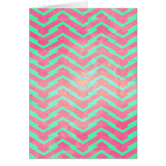 Trendy Pink Chevron Abstract Teal Zig Zag Pattern Card