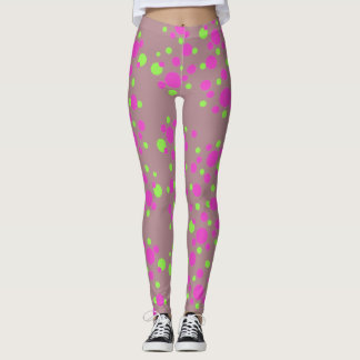 Trendy Pink Dots on Tan - Leggings