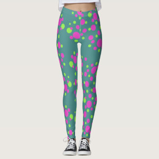 Trendy Pink Dots on Turquoise - Leggings