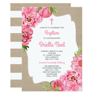 Trendy Pink Floral + canvas Baptism invite