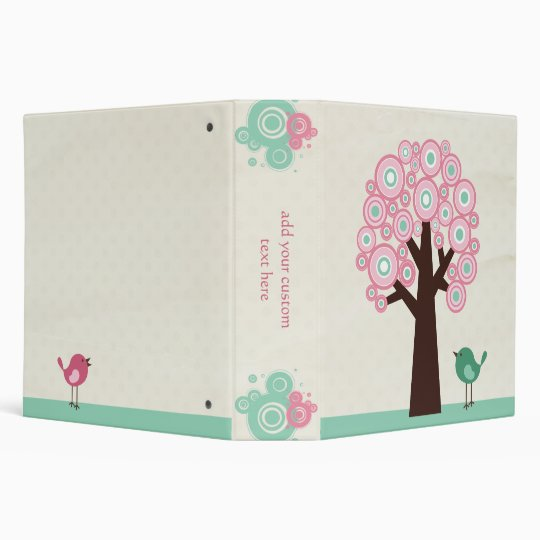 Trendy pink green circles tree bird avery binder