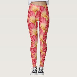 Trendy Pink Hibiscus Floral Pattern Leggings