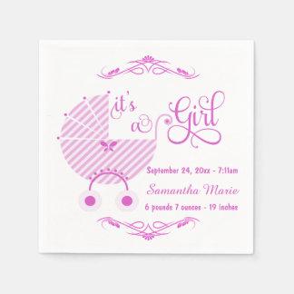 Trendy Pink New Baby Girl Paper Napkins