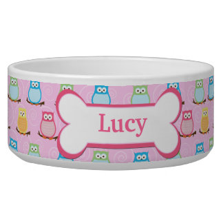 Trendy Pink Owls Customized Pet Dog Food Bowl