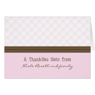 Trendy Pink Plaid Photo (inside) Thank You Card