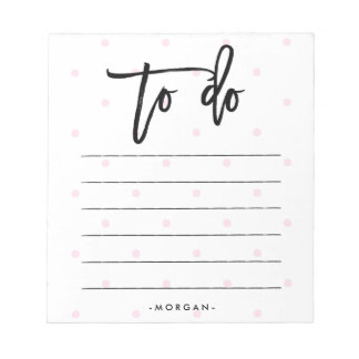 Trendy Pink Polka Dots and Typography To Do List Notepad