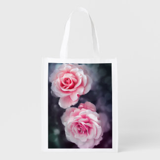 Trendy Pink Roses Floral Photo Reusable Grocery Bag