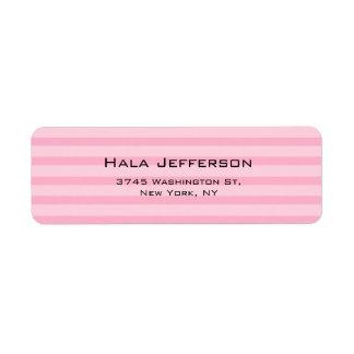 Trendy Pink Stripes Feminine Elegant Modern Style Return Address Label