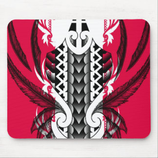 Trendy pink tattoo designs with polynesian tribals mouse pad