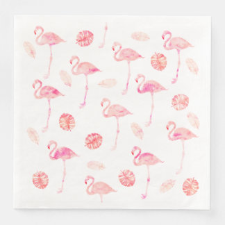 Trendy pink watercolor flamingo tropical leaf disposable napkin