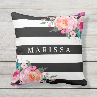 Trendy Pink Watercolor Floral Black White Stripe Outdoor Pillow