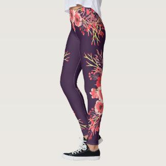 Trendy Pink Watercolor Flowers & Purple Leggings