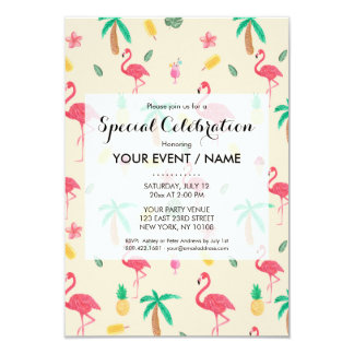 """Trendy pink watercolor tropical flamingo floral 3.5"""" x 5"""" invitation card"""