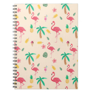 Trendy pink watercolor tropical flamingo floral notebooks