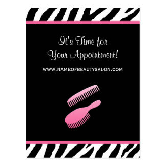 Trendy Pink Zebra Hair Salon Appointment Reminder Postcard