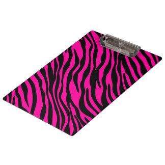 Trendy Pink Zebra Print Clipboard