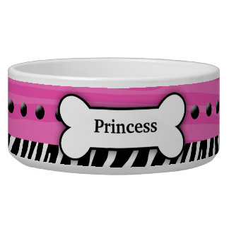 Trendy Pink Zebra Stripe Pet Food Bowl - Small