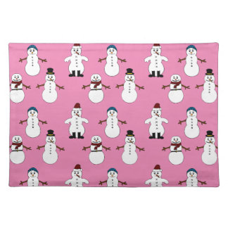 Trendy Placemat  pink cute snowman Christmas