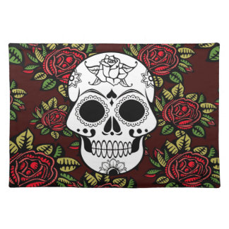 Red Rose Skull Placemats Red Rose Skull Place Mat Designs