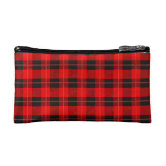 Trendy Plaid Pattern In Red And Black Makeup Bag
