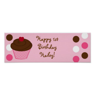 Trendy Polka Dot Cupcake Birthday Banner Sign