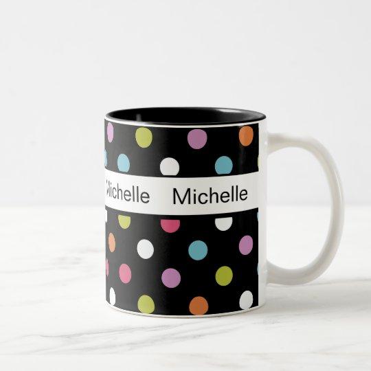 Trendy Polka Dot Monogram Coffee Mugs