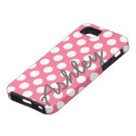 Trendy Polka Dot Pattern with name - pink grey