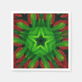 Trendy Popular Abstract Green Holiday Napkins Paper Napkins