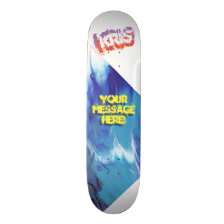 Trendy Poured Paint Powder Blue Dark Blue Skateboard Deck