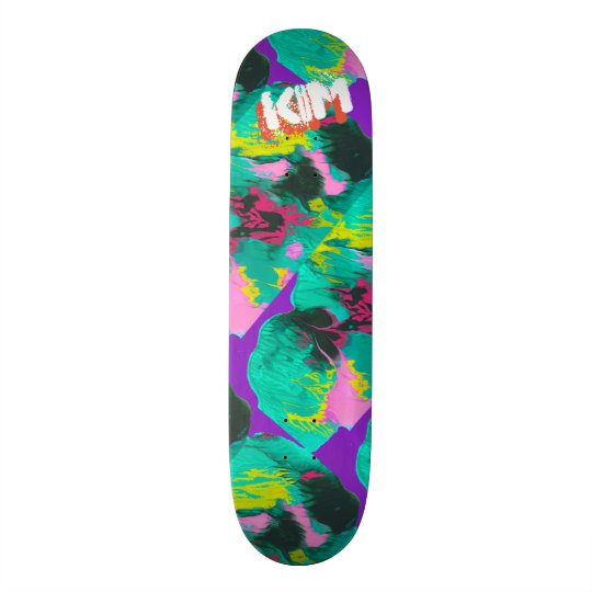 Trendy Poured Paint Purple Pink Turquoise Skate Board