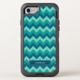 Trendy Preppy Teal Blue Chevron Monogram OtterBox Defender iPhone 7 Case