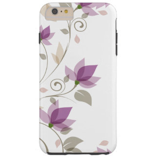 Trendy Purple Abstract Floral Tough iPhone 6 Plus Case