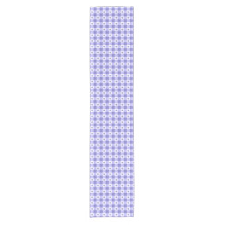 Trendy Purple And White Gingham Check Pattern Short Table Runner