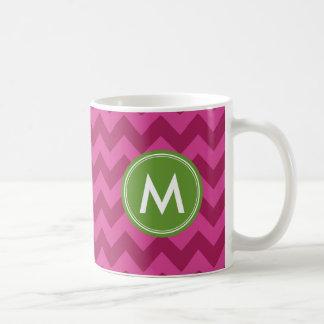 Trendy Purple Chevron Personalize Monogram Coffee Mug